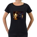 Dark Motorcycle Demon on Fire Maternity Black T-Shirt