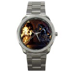Dark Motorcycle Demon on Fire Sport Metal Watch