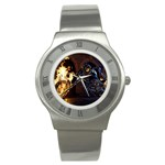 Dark Motorcycle Demon on Fire Stainless Steel Watch