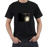 Goth Haunted House Lightbulb Black T-Shirt