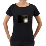 Goth Haunted House Lightbulb Maternity Black T-Shirt