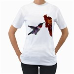 Ruby Throated Hummingbird Women s T-Shirt (White) (Two Sided)