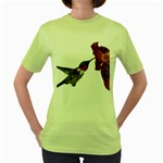 Ruby Throated Hummingbird Women s Green T-Shirt