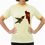 Ruby Throated Hummingbird Women s Fitted Ringer T-Shirt