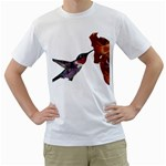 Ruby Throated Hummingbird Men s T-Shirt (White) (Two Sided)