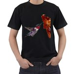 Ruby Throated Hummingbird Men s T-Shirt (Black) (Two Sided)