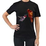 Ruby Throated Hummingbird Women s T-Shirt (Black) (Two Sided)