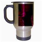 Rose and Black Explosion Fractal Travel Mug (Silver Gray)