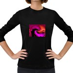 Rose and Black Explosion Fractal Women s Long Sleeve Dark T-Shirt