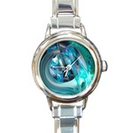 Blue and Silver Twisted Future Fantasy Round Italian Charm Watch