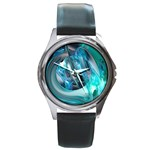 Blue and Silver Twisted Future Fantasy Round Metal Watch