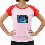 Blue and Silver Twisted Future Fantasy Women s Cap Sleeve T-Shirt