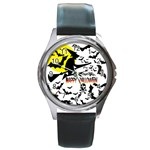 Happy Halloween Collage Round Leather Watch (Silver Rim)