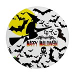 Happy Halloween Collage Round Ornament