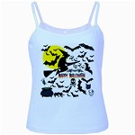 Happy Halloween Collage Baby Blue Spaghetti Tank
