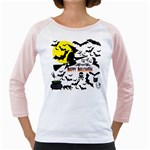 Happy Halloween Collage Women s Long Cap Sleeve T-Shirt (White)