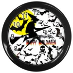 Happy Halloween Collage Wall Clock (Black)