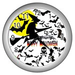 Happy Halloween Collage Wall Clock (Silver)