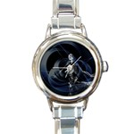 Rising Skeleton on Black Goth Punk Round Italian Charm Watch