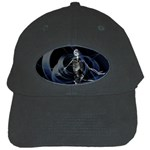 Rising Skeleton on Black Goth Punk Black Cap