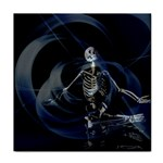 Rising Skeleton on Black Goth Punk Tile Coaster
