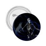 Rising Skeleton on Black Goth Punk 2.25  Button