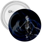 Rising Skeleton on Black Goth Punk 3  Button