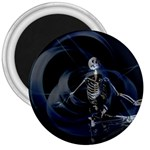Rising Skeleton on Black Goth Punk 3  Magnet