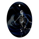 Rising Skeleton on Black Goth Punk Ornament (Oval)