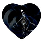 Rising Skeleton on Black Goth Punk Ornament (Heart)
