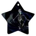 Rising Skeleton on Black Goth Punk Ornament (Star)