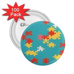Puzzle Pieces 2 25  Button (100 Pack)