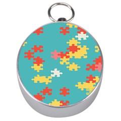 Puzzle Pieces Silver Compass