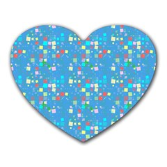 Colorful Squares Pattern Heart Mousepad