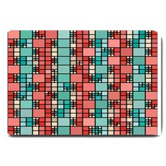 Red And Green Squares Large Doormat
