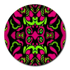Psychedelic Retro Ornament Print 8  Mouse Pad (round) by dflcprints