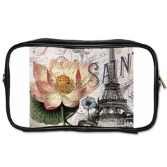 Vintage Paris Eiffel Tower Floral Travel Toiletry Bag (one Side)