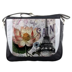 Vintage Paris Eiffel Tower Floral Messenger Bag