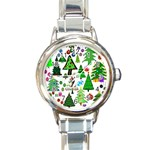 Oh Christmas Tree Round Italian Charm Watch