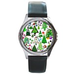Oh Christmas Tree Round Leather Watch (Silver Rim)