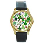 Oh Christmas Tree Round Leather Watch (Gold Rim)