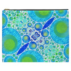 Turquoise Blue Abstract  Cosmetic Bag (xxxl) by OCDesignss