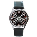 Zombie Apocalypse Warning Sign Round Leather Watch (Silver Rim)