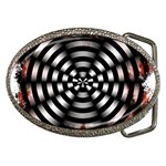 Zombie Apocalypse Warning Sign Belt Buckle (Oval)