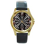 Zombie Apocalypse Warning Sign Round Leather Watch (Gold Rim)
