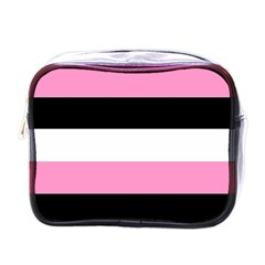 Black, Pink And White Stripes  By Celeste Khoncepts Com 20x28 Mini Travel Toiletry Bag (one Side) by Khoncepts