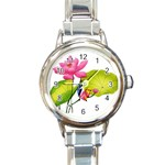 Lillies Round Italian Charm Watch