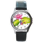 Lillies Round Metal Watch