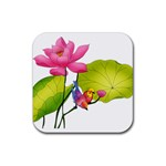 Lillies Rubber Square Coaster (4 pack)