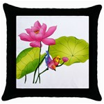 Lillies Throw Pillow Case (Black)